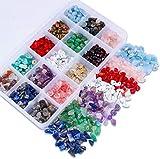 Colle Lote de cuentas de piedras preciosas irregulares pequeñas - Piedras curativas naturales - Cuentas sueltas para hacer joyas, collares, pulseras, anillos (15 colores)
