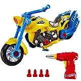 HERSITY Motorrad Spielzeug Montage Auto Kinder mit Lichtern und Sound DIY 2-in-1 Rennwagen Große mit Schraubendreher Bohrmaschine Kinderspielzeug für Jungen Mädchen 3 4 5 Jahren
