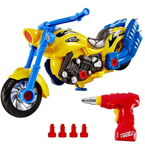 HERSITY Macchina da Montare e Smontare Giochi Moto da Assemblare Kit Smontabile Giocattolo Auto con Trapano Elettrico Luci e Suoni per Bambini