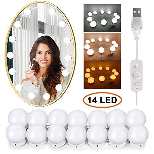 VictoperHollywood - Kit de luces LED para espejo de tocador con 14 bombillas regulables para maquillaje, tocador con 5 engranajes, regulador táctil de brillo ajustable y cable de alimentación USB