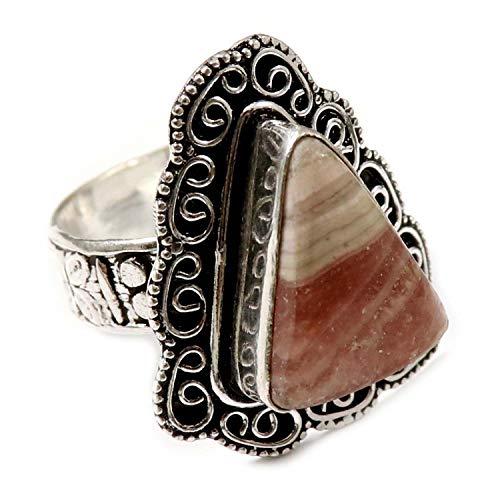 GoyalCrafts Anillo de rodocrosita chapado en plata de piedra natural joyería US 9 GRU37