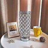 Moderna lámpara de cabecera del dormitorio simple Manera del acero inoxidable Tabla lámpara de cristal de plata del cromo E27 lámpara de escritorio de la sala de estar dormitorio de noche de luz LED R