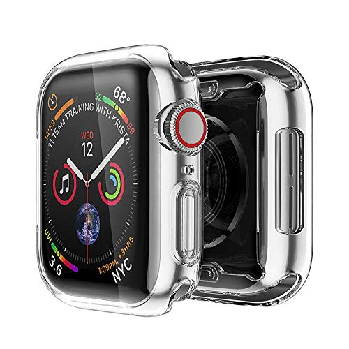 Veerve Ultra Protective Transparent Silicone Case for Apple Watch SE / Series 4 / Series 5 / Series 6 Heavy Duty Protection for Screen and Watch Full Body Cover with Easy Install (42mm)