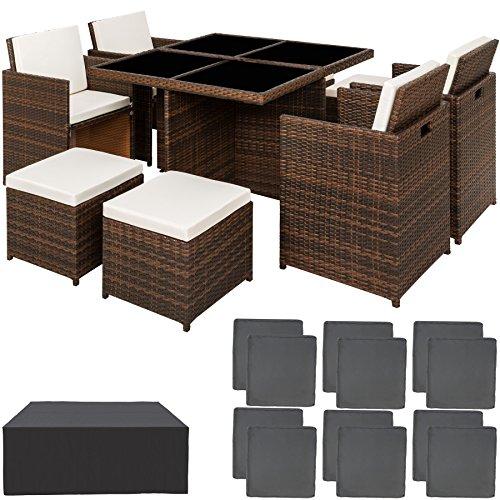 TecTake Conjunto muebles de jardín en aluminio y ratán sintético...