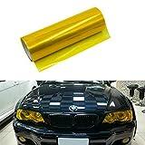 Riloer Pellicola per luci per auto, pellicola vinilica per fari, luce posteriore, fendinebbia posteriore, giallo, 30 cm x 100 cm