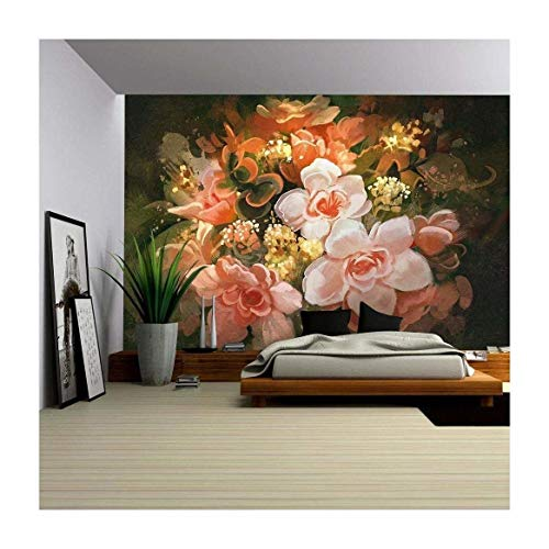 wall26 - Illustration - Beautiful Flowers,Color Blooming,Illustration,Digital Painting - Removable Wall Mural | Self-adhesive Large Wallpaper - 66x96 inches