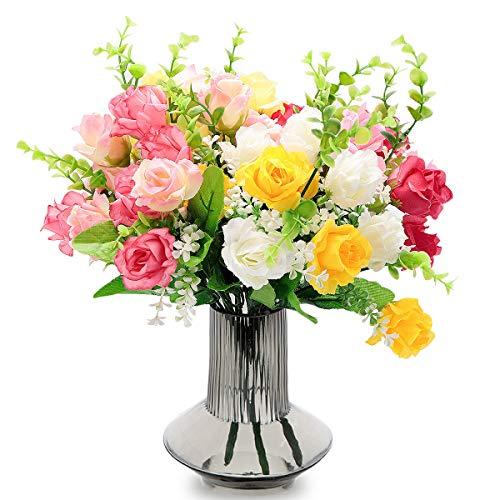 Euclidean Cube Künstliche Blumen, gefälschte Rosen Seide Blumenstrauß Dekor Kunststoff realistische Blume für zu...