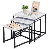mDesign Modern Farmhouse Nesting Side/End Table - Metal Wood Design - Sturdy Vintage, Rustic, Industrial Home Decor Accent Furniture for Living Room, Bedroom - Set of 3 - Marble/Black