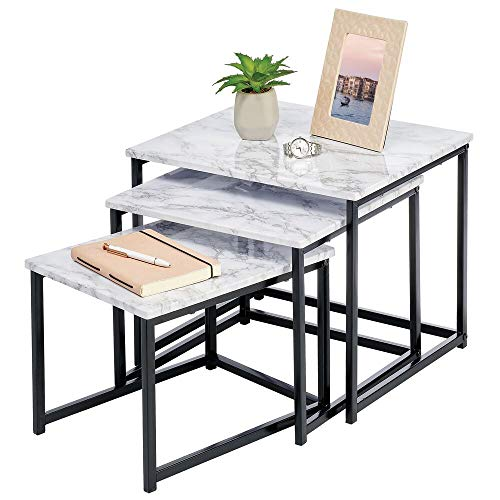 mDesign Set of 3 Nest Tables — Nested End Tables Made of Metal and Wood — Ideal for Use as Living Room Lamp Tables or Bedside Tables — Marble Coloured/Black