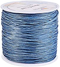 PH PandaHall 116 Yards 0.5mm Round Waxed Polyester Cords Thread Beading String Spool for Bracelet Necklace Jewelry Making Macrame Supplies, Gray