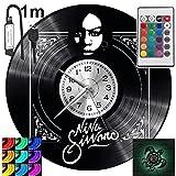 Nina Simone RGB LED Pilot Reloj de pared para mando a distancia, disco de vinilo moderno decorativo para regalo de cumpleaños