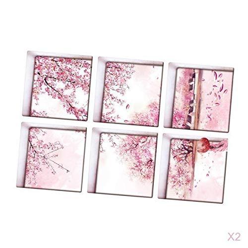 Fenteer 12 Stück 13x13cm 3D Effekt Anti Rutsch Aufkleber Sticker Klebefolie für Badewanne, Wasserdicht - Blume