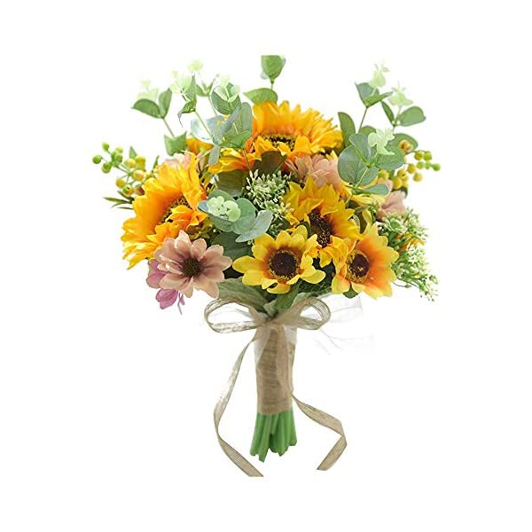 Xigeapg Sunflower Wedding Bouquet Decoration Artificial Sunflower Handmade Bridal Holding Flower Bouquets for Wedding Party Home