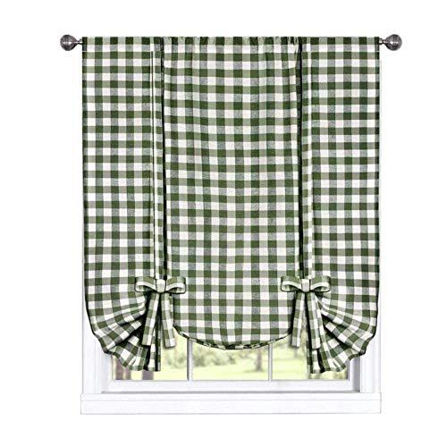 GoodGram Buffalo Check Plaid Gingham Custom Fit Farmhouse Window Curtain Tie Up Shades - Assorted Colors (Sage)