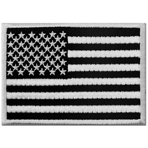Bandera americana tctica Broche Bordado de Gancho y Parche de Gancho y bucle de cierre, Blanco y negro