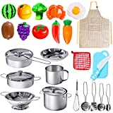 POPUTOY 28Pcs Pretend Play Kitchen Toys, Kitchen Playset Cooking Toys Set with Stainless Steel Cookware and Accessories for Kids Toddlers Girls Boys