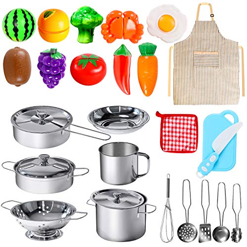28Pcs Pretend Play Kitchen Toys, POPUTOY Kitchen Playset Cooking Toys Set with Stainless Steel Cookware and Accessories for Kids Toddlers Girls Boys