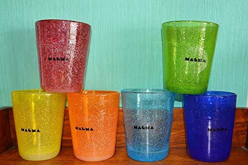 MAGMA Set 6 Bicchieri in Pasta di Vetro Colorata 260ML. Glass Colori FORTI2