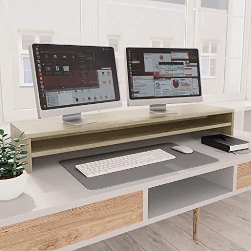 UnfadeMemory Soporte para Pantalla para 2 Monitores,Soporte de TV,Elevador para Monitor del Escritorio,con Estante,Madera Aglomerada,100x24x13cm (Roble Sonoma)
