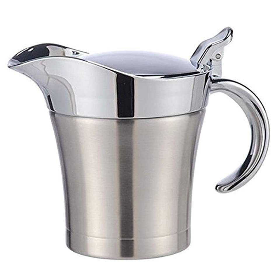 Sauce Jug, 500ml Gravy Boat Stainless Steel Double Insulated Vinegar Lid Liquid Container for Gravy, Custard & Cream