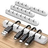 JIRVY 4 Stück Kabelhalter Kabelclips Selbstklebende Kabel Kabelmanagement für Netzkabel,USB Cable Ladekabel,Ladegeräte,Audiokabel, Cable Schreibtisch Kabelführung Weiß(White-7)