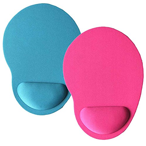 HappyDaily Pack of 2 Non-Slip Soft and Light Mouse Pad with Wrist Support Desktop Mouse Pad Gaming Mouse Pad (Sky Blue+Rose Pink)