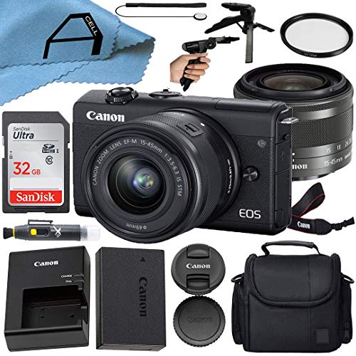 Canon EOS M200 Compact Mirrorless Digital Vlogging Camera with EF-M 15-45mm is STM Zoom Lens, SanDisk 32GB Memory Card, Case,...