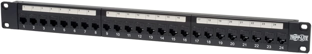 Tripp Lite 24-Port Cat6 / Cat5 Patch Panel, RJ45 Ethernet 1U Rackmount TAA (N254-024)