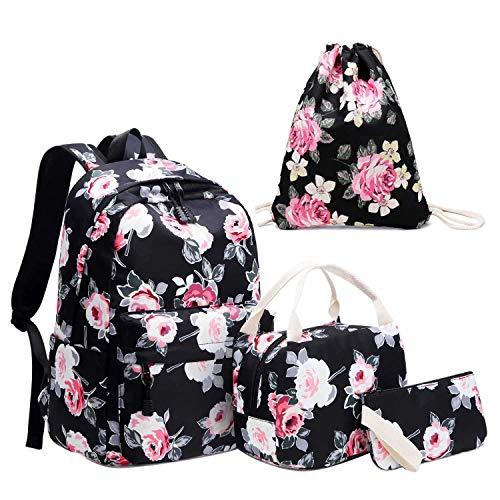 Neuleben Schultaschen 4 Set Schulrucksack & Kühltasche & Turnbeutel & Geldbörse mit Blumenmuster für Damen Mädchen Kinder (Schwarz Blumen)
