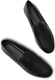 KISFLY Leather Loafers for Women Comfort Walking Driving Flat Shoes