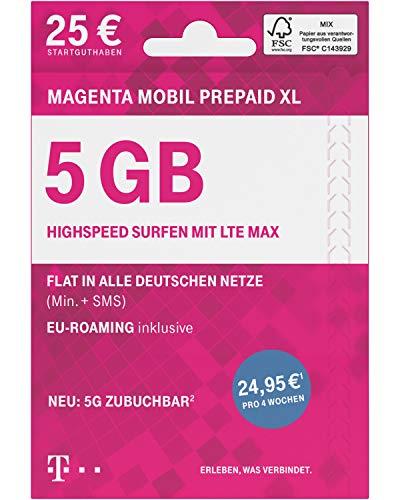 Telekom MagentaMobil Prepaid XL SIM-Karte ohne Vertragsbindung I inkl. 5 GB & Allnet Flat (Min, SMS) in alle dt. Netze, mit EU-Roaming I Surfen mit LTE Max & Hotspot Flat I inkl. 25 EUR Startguthaben