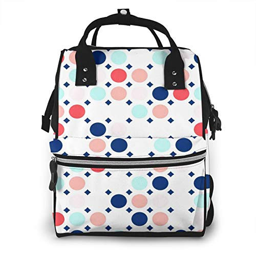 Nappy Changing Bag Backpack, Large Diaper Bags Circles Geometric Colors Navy Multi-Function Waterproof Maternity Nappy Back Pack for Baby Care Mom Dad Travel