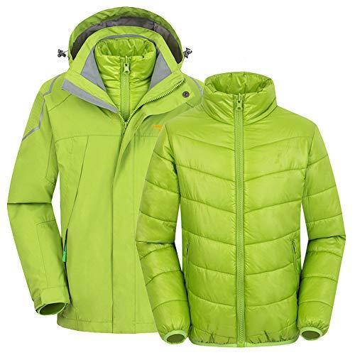 Schneeanzug Kinder 2 in 1 Winddicht wasserdicht Dicke Fleece warme Kapuze Schneeanzug Ski Down Jacke Jungen Mädchen und Kinder (Farbe : Grün, Größe : 140cm)