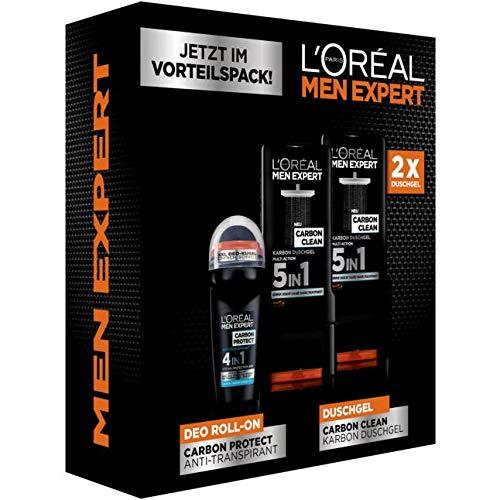 L'Oréal Paris men expert Carbon Box 1 Set bestehend aus 1x CARBON PROTECT - 4in1 Anti-Transpirant Roll-On 50 ml & 2x CARBON CLEAN - Karbon Duschgel Multi Action 5in1 300 ml
