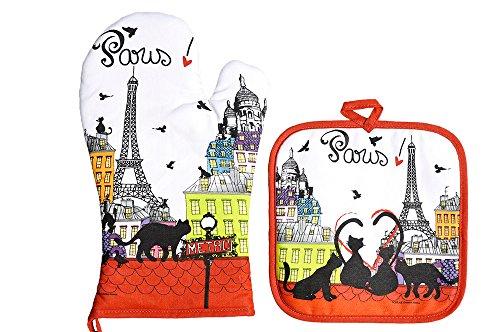 FoxTrot 8780TOIT Gant et Manique Toit Paris Coton Multicolore 20 x 20 cm
