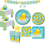 Party City Rubber Ducky Baby Shower Tableware Kit for 16 Guests, Includes 2 Table Covers, Table Centerpiece and Banner