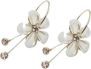 Korean Women Camellia Flower Long Tassel Faux RhinestoneParty Leaverback Earrings qsbai