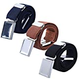 3 PCS Kids Adjustable Magnetic Belts - Easy to Use Magnetic Buckle Belt for Boys and Girls (Navy blue/Brown/Black)