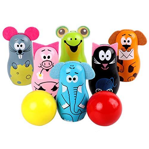 Bowling-Set Kinder, Holz Bowling-Set Kegel Spielzeug mit 6 Tiernadeln und 2 Bällen pädagogisches Spielzeug Geschenk