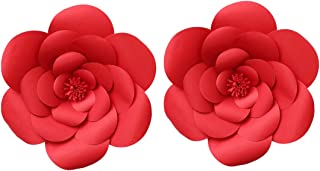 LG-Free 2pcs 12inch Paper Flower Backdrop Decoration Party Paper Flower Wedding Rose Flower Wall Backdrop DIY Paper Handmade Craft for Nursey,Baby Shower,Birthday,Home Decor (12inch, Ruby Red)