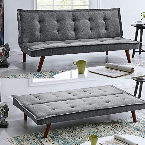 BRAVICH Modern TONI Scandinavian Grey 2/3 Seater Sofa Bed Fabric Couch Settee Click Clack Sofa Bed Recliner Bed Sofa For Living Room Bedroom