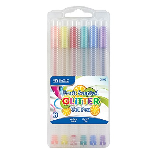 BAZIC 6 Fruit Scented Glitter Color Gel Pen with Case Michigan