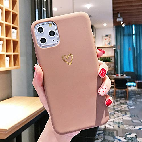 Custodia Gold Love Heart per iPhone 11 Pro X XR XS Max 7 8 6 6s Plus Custodie in silicone Cover posteriore in TPU galvanico, rosa, per iPhone 7