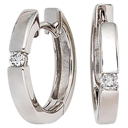 15,3 mm pendientes de aro pendientes de diamantes brillantes{585} de oro blanco