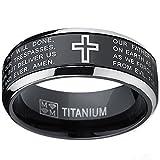 Ultimate Metals Co.. Herren Schwarz Titan Ring Band Mit Vater Unser,Größe 61.5