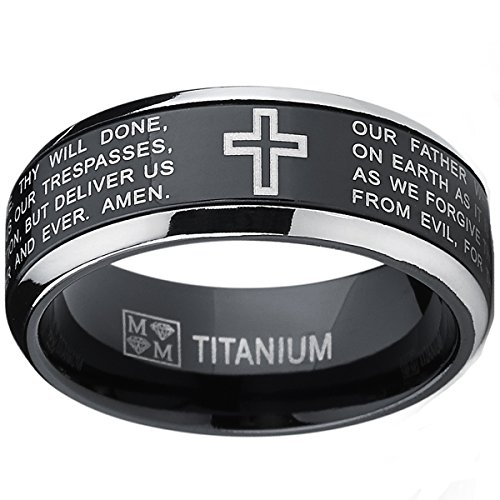 Ultimate Metals Co.. Herren Schwarz Titan Ring Band Mit Vater Unser,Größe 58