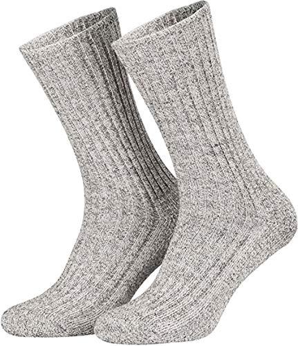 Tobeni 5 Paar Herrensocken Norwegersocken Arbeitssocken Winter Socken Wolle mit Frotteesohle Farbe Grau Grösse 47-50