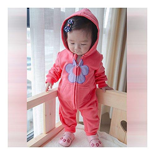 0-1-2 jaar 0-24 maanden infant baby jongens meisjes unisex kleding infant babykleding kledingset één stuk coat verdikkend warme jas jumpsuits rompers ondergoed bloem roos rood 80 cm multicolor