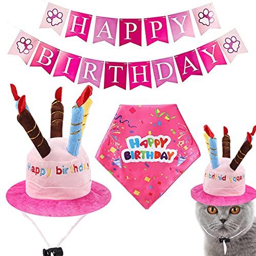 Yueser Set di Bandane di Compleanno per Cani,Buon Compleanno Bandana Cappello e Banner Carino Decorazioni Regalo di Compleanno per Dare Cani e Gatti Agli Animali Una Festa di Compleanno (pink)