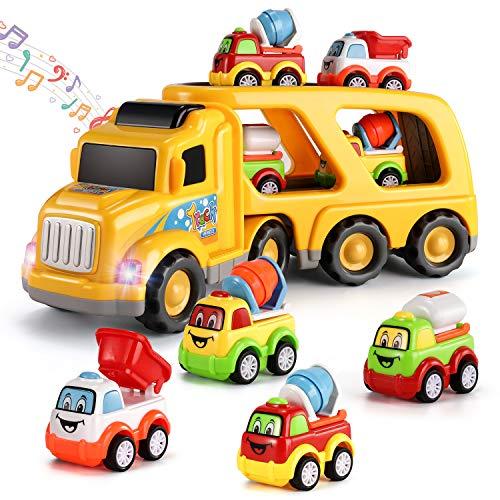 Temi 5-in-1-Spielzeugfahrzeug Konstruktionsfahrzeuge für Kinder, Lenkungs-Konstruktions-LKW mit Lichtern und Sirenengeräuschen, Kleiner Bulldozer / Zementmischer / Wasserreibungs-Kraftfahrzeug